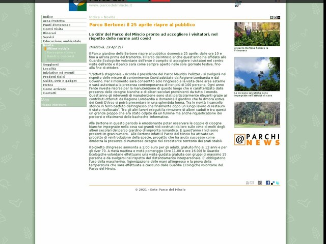 PR Mincio - Parco Bertone: il 25 aprile riapre al pubblico