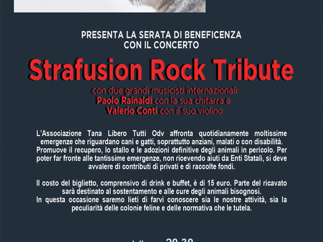 @TeatroArciliuto | Martedì 18 febbraio 2020 Strafusion Rock Tribute. Serata di beneficienza con concerto con l'Associazione Tana libero Tutti