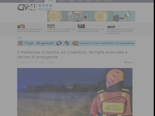Il maltempo si sposta sul Cosentino, famiglie evacuate e decine di emergenze