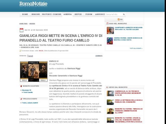 Gianluca Riggi mette in scena l'Enrico IV di Pirandello al Teatro Furio Camillo