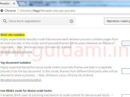Google Chrome più sicuro attivando la funzione Strict site isolation