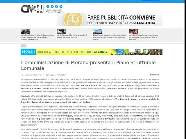 L'amministrazione di Morano presenta il Piano Strutturale Comunale