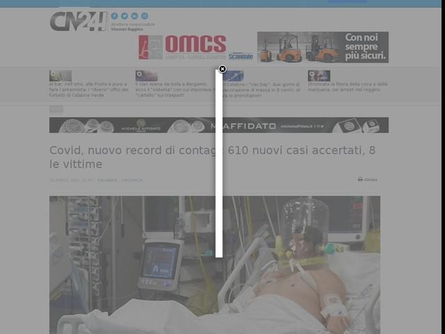 Covid, nuovo record di contagi: 610 nuovi casi accertati, 8 le vittime