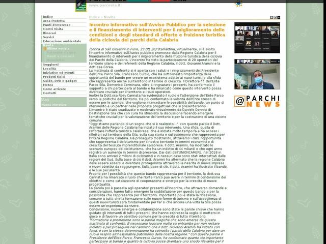 PN Sila - Incontro informativo sull'Avviso Pubblico per la selezione e il finanziamento di interventi per il miglioramento delle condizioni e degli standard di offerte e fruizione turistica della ciclovia dei parchi della Calabria