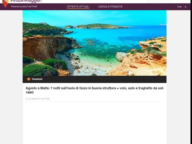 Agosto a Malta: 7 notti sull'isola di Gozo in buona struttura + volo, auto e traghetto da soli 188€!