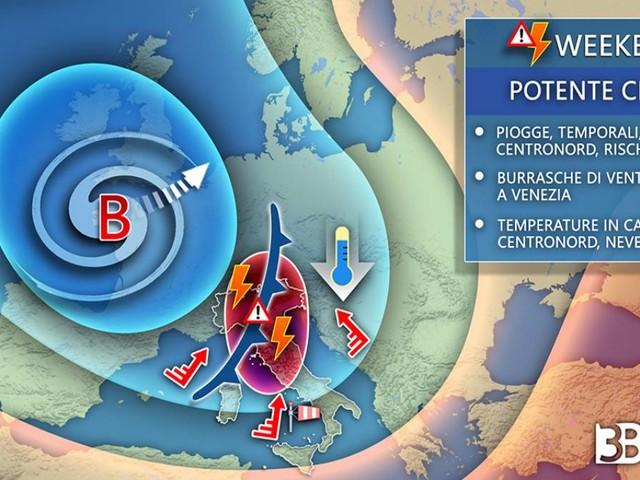 Meteo -- FORTE PERTURBAZIONE nel WEEKEND con TEMPORALI, GRANDINE, NEVE e BURRASCA di vento