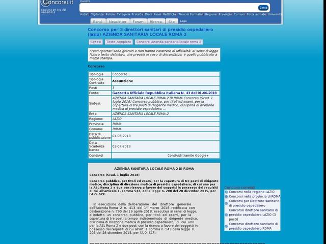 Direttore sanitario di presidio ospedaliero - ROMA - 3 posti