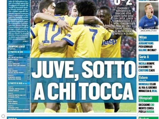 """PRIME PAGINE – """"Juve e Roma agli ottavi di Champions League, il Napoli cerca l'impresa in Olanda"""""""