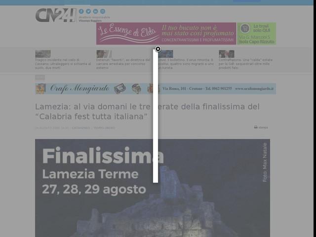 """Lamezia: al via domani le tre serate della finalissima del """"Calabria fest tutta italiana"""""""