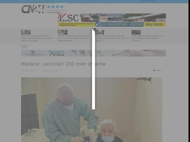 Morano: vaccinati 200 over ottanta