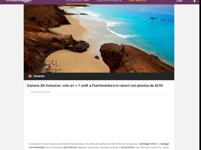 Canarie All Inclusive: volo a/r + 7 notti a Fuerteventura in resort con piscina da 437€!
