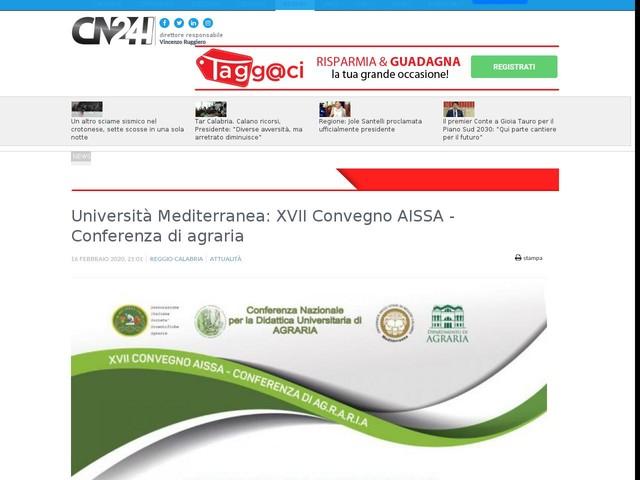 Università Mediterranea: XVII Convegno AISSA - Conferenza di agraria