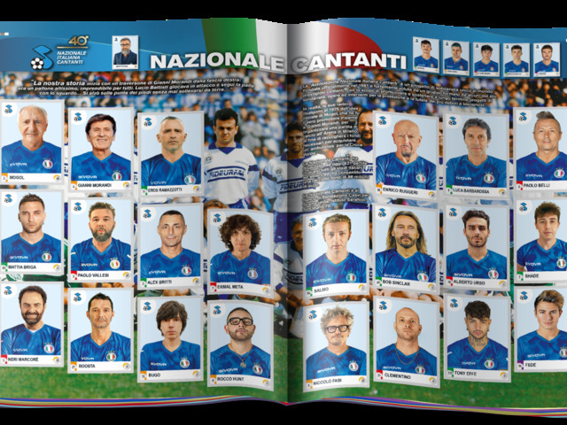 La Nazionale Italiana Cantanti nella collezione Calciatori 2021 di Panini