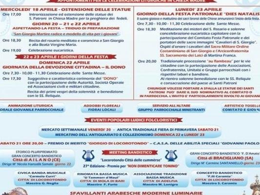 Locorotondo, Matino e San Giorgio Ionico: festa patronale Fra i paesi di Puglia in cui si celebra il santo