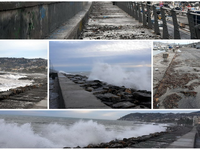 Sanremo: ancora mare 'grosso' sulla costa ma porto in sicurezza, pescatori senza nessun danno (Foto e Video)