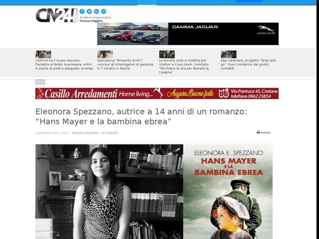 """Eleonora Spezzano, autrice a 14 anni di un romanzo: """"Hans Mayer e la bambina ebrea"""""""