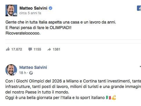 """Salvini nel 2014: """"Renzi vuole le Olimpiadi? Ricoveratelo!"""". Oggi esulta per Milano-Cortina 2026"""