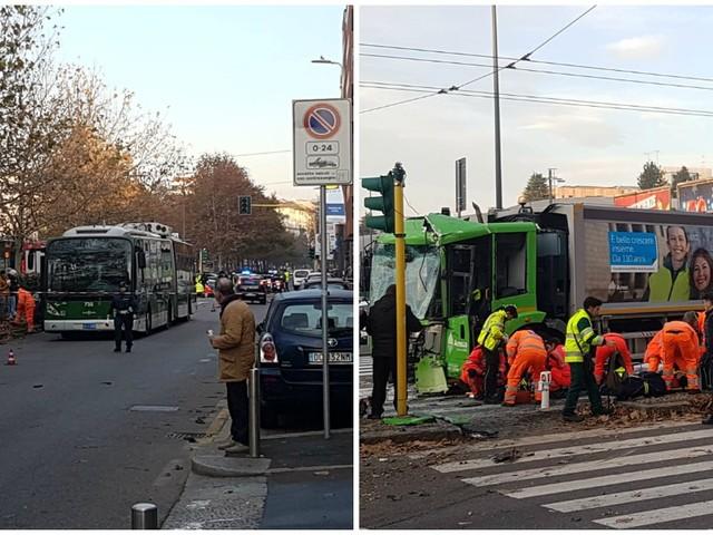 Milano, scontro tra un bus e un mezzo Amsa: 18 feriti, una donna di 49 anni è in coma
