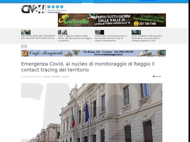 Emergenza Covid, al nucleo di monitoraggio di Reggio il contact tracing del territorio