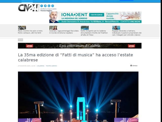 """La 35ma edizione di """"Fatti di musica"""" ha acceso l'estate calabrese"""