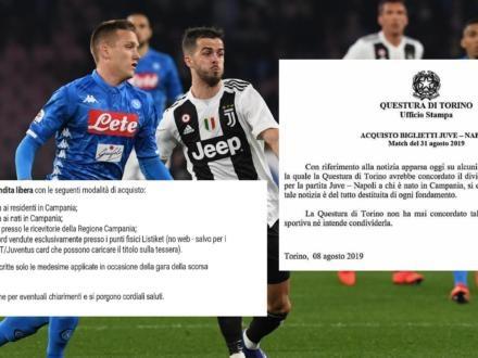 La Juve vieta la trasferta ai tifosi del Napoli nati in Campania, ma la Questura di Torino si dissocia