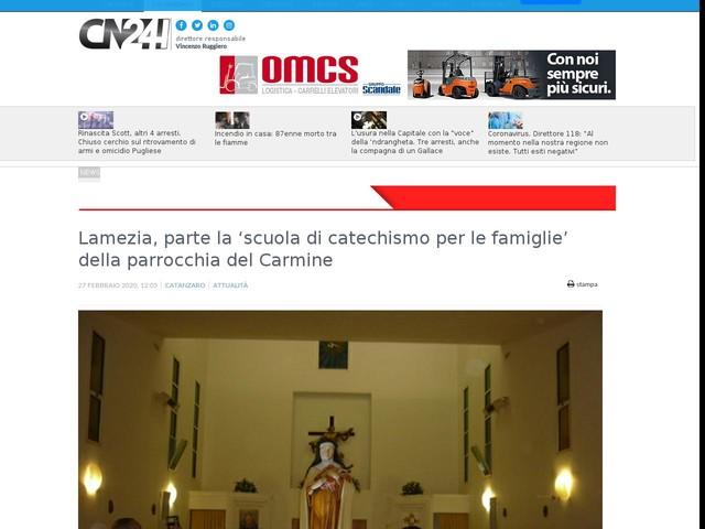 Lamezia, parte la 'scuola di catechismo per le famiglie' della parrocchia del Carmine