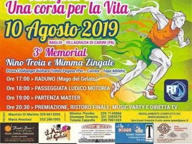 """Podismo: Ritorna a Villagrazia di Carini la """"Ferragosto Run – Una Corsa per la Vita"""" il via sabato 10 agosto dalle ore 18:00."""