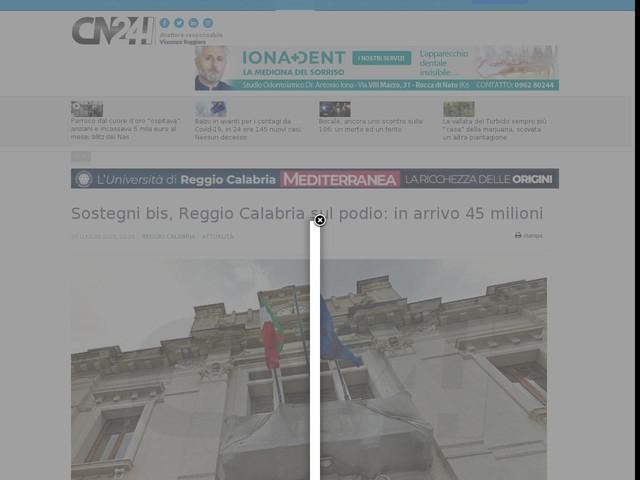 Sostegni bis, Reggio Calabria sul podio: in arrivo 45 milioni