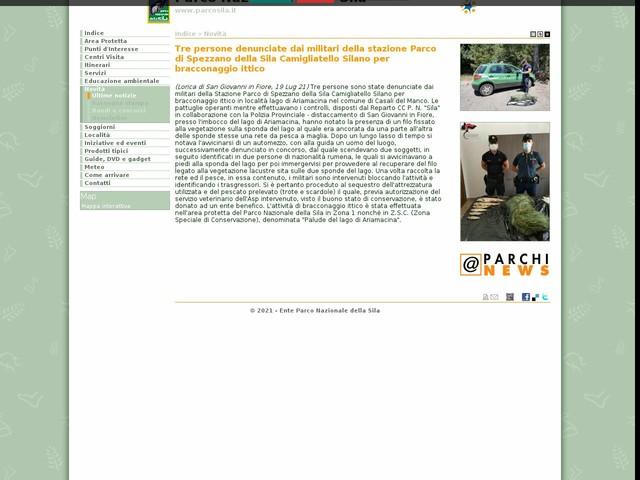 PN Sila - Tre persone denunciate dai militari della stazione Parco di Spezzano della Sila Camigliatello Silano per bracconaggio ittico