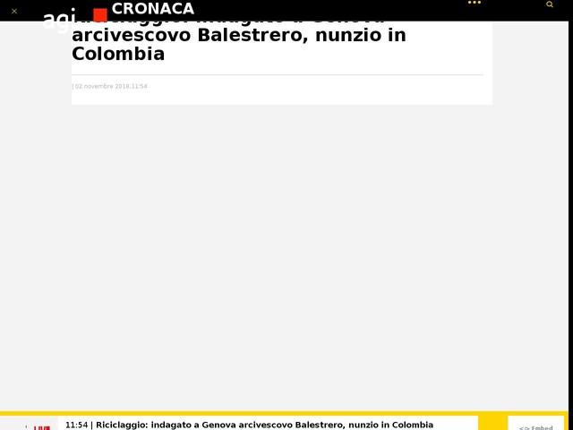 Riciclaggio: indagato a Genova arcivescovoBalestrero, nunzio in Colombia
