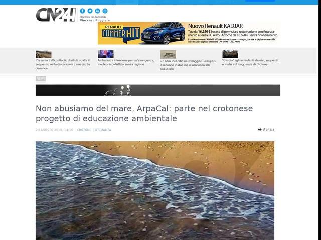 Non abusiamo del mare, ArpaCal: parte nel crotonese progetto di educazione ambientale