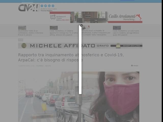 Rapporto tra inquinamento atmosferico e Covid-19, ArpaCal: c'è bisogno di risposte