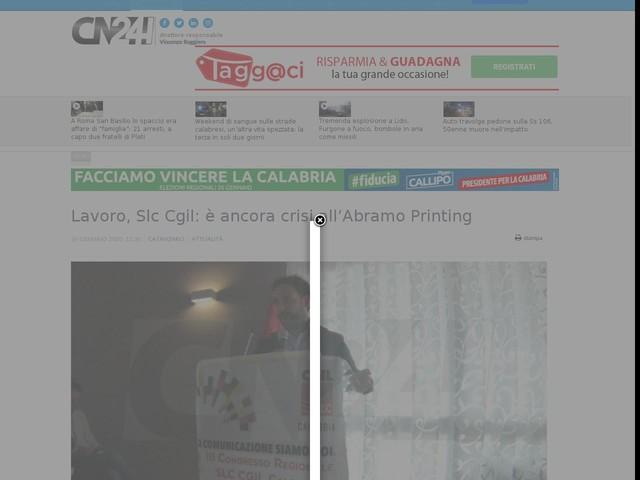Lavoro, Slc Cgil: è ancora crisi all'Abramo Printing