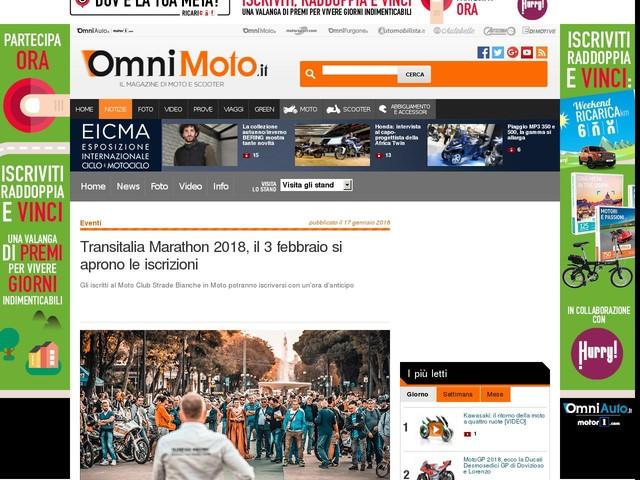Transitalia Marathon 2018, il 3 febbraio si aprono le iscrizioni