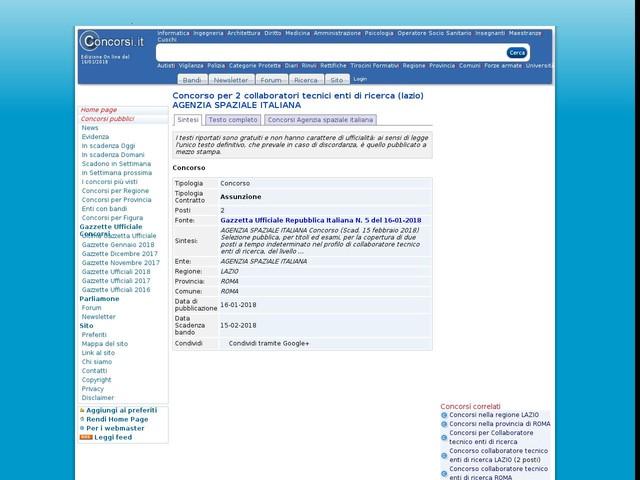 Collaboratore tecnico enti di ricerca - ROMA - 2 posti