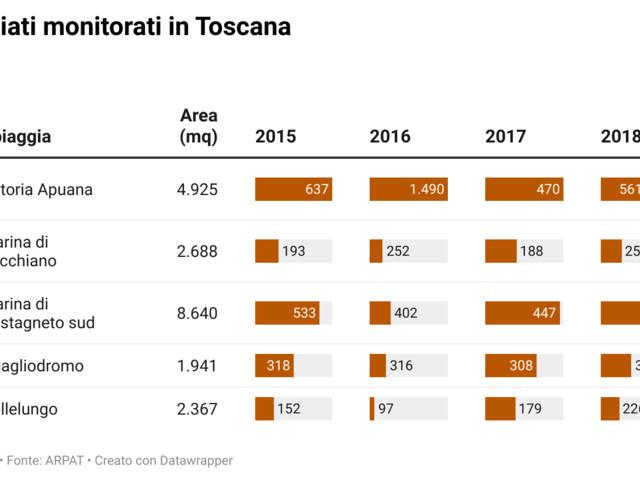 Ecco quanti sono i rifiuti spiaggiati in Toscana