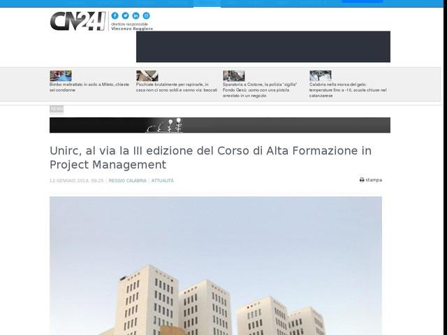 Unirc, al via la III edizione del Corso di Alta Formazione in Project Management