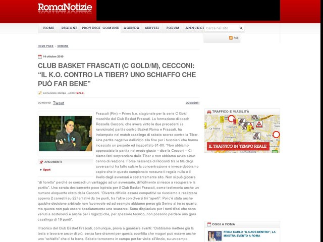 """Club Basket Frascati (C Gold/m), Cecconi: """"Il k.o. contro la Tiber? Uno schiaffo che può far bene"""""""