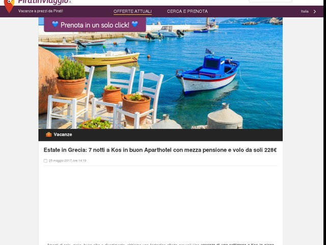 Estate in Grecia: 7 notti a Kos in buon Aparthotel con mezza pensione e volo da soli 228€