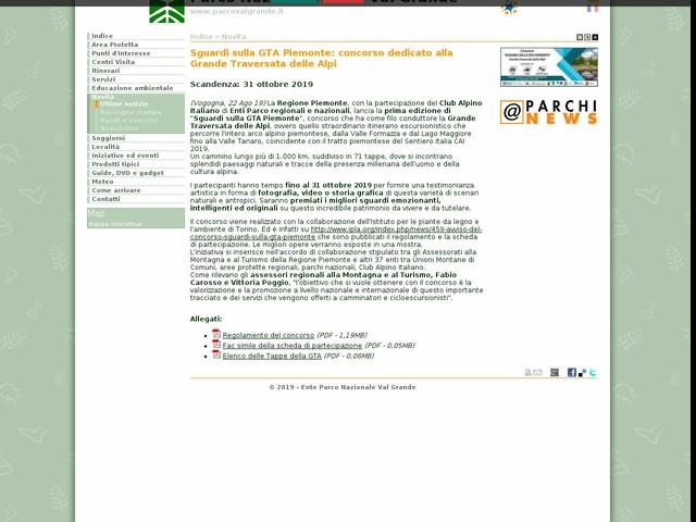 PN Val Grande - Sguardi sulla GTA Piemonte: concorso dedicato alla Grande Traversata delle Alpi