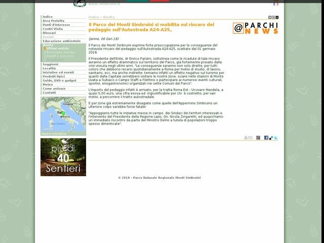 PR Monti Simbruini - Il Parco dei Monti Simbruini si mobilita sul rincaro del pedaggio sull'Autostrada A24-A25,