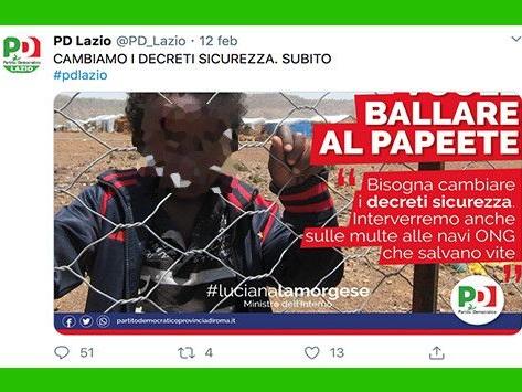 Il brutto manifesto del Pd Lazio sul bimbo migrante «che vuole ballare anche lui al Papeete»