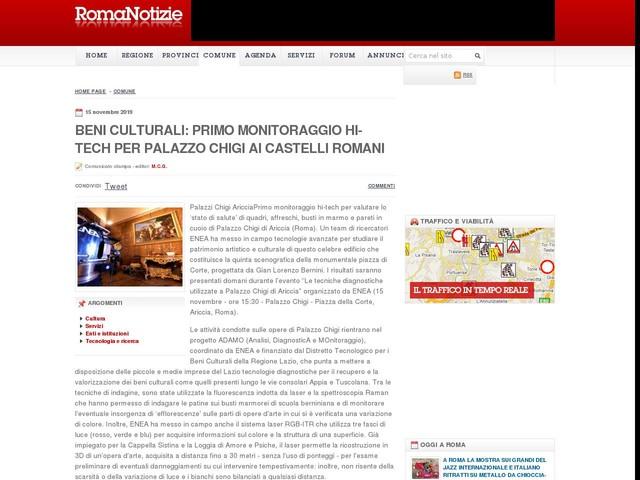 Beni culturali: primo monitoraggio hi-tech per Palazzo Chigi ai Castelli Romani