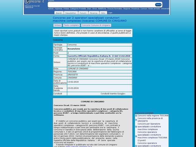 Operatore specializzato conduttore macchine complesse - GROSSETO - 2 posti