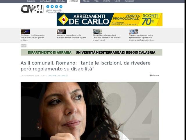 """Asili comunali, Romano: """"tante le iscrizioni, da rivedere però regolamento su disabilità"""""""