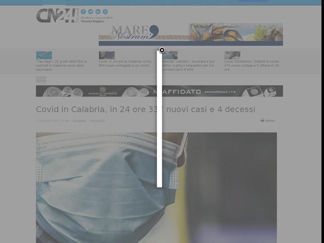 Covid in Calabria, in 24 ore 337 nuovi casi e 4 decessi