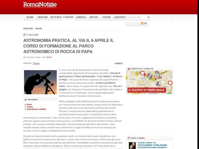 Astronomia pratica, al via il 9 aprile il corso di formazione al Parco astronomico di Rocca di Papa