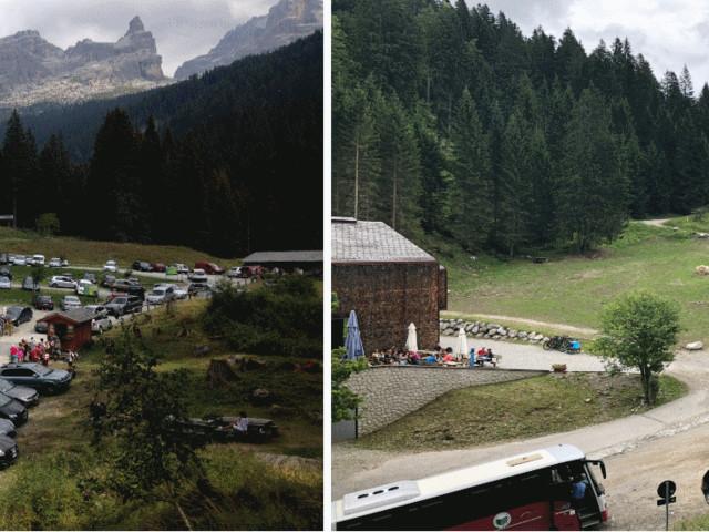 Il parcheggio di Vallesinella libero dalle automobili dopo i lavori del Parco