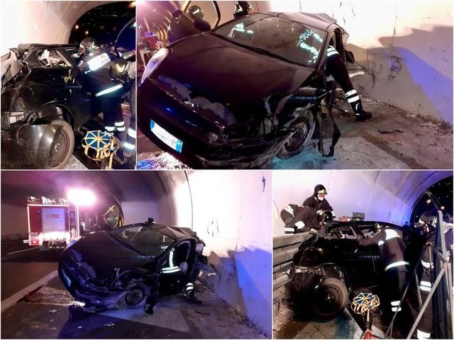 Sanremo: schianto in Aurelia Bis, auto distrutta contro il muro di una galleria. Un ferito (Foto)