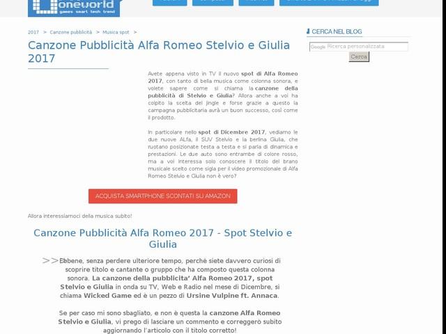 Canzone Pubblicità Alfa Romeo Stelvio e Giulia 2017
